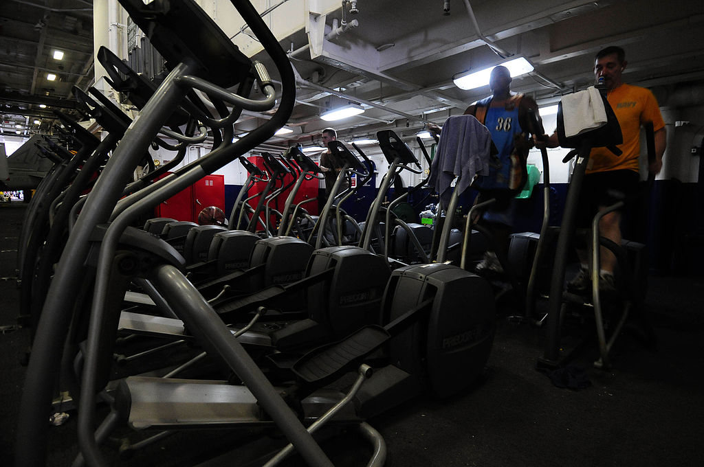 a line up of several Elliptical Machines