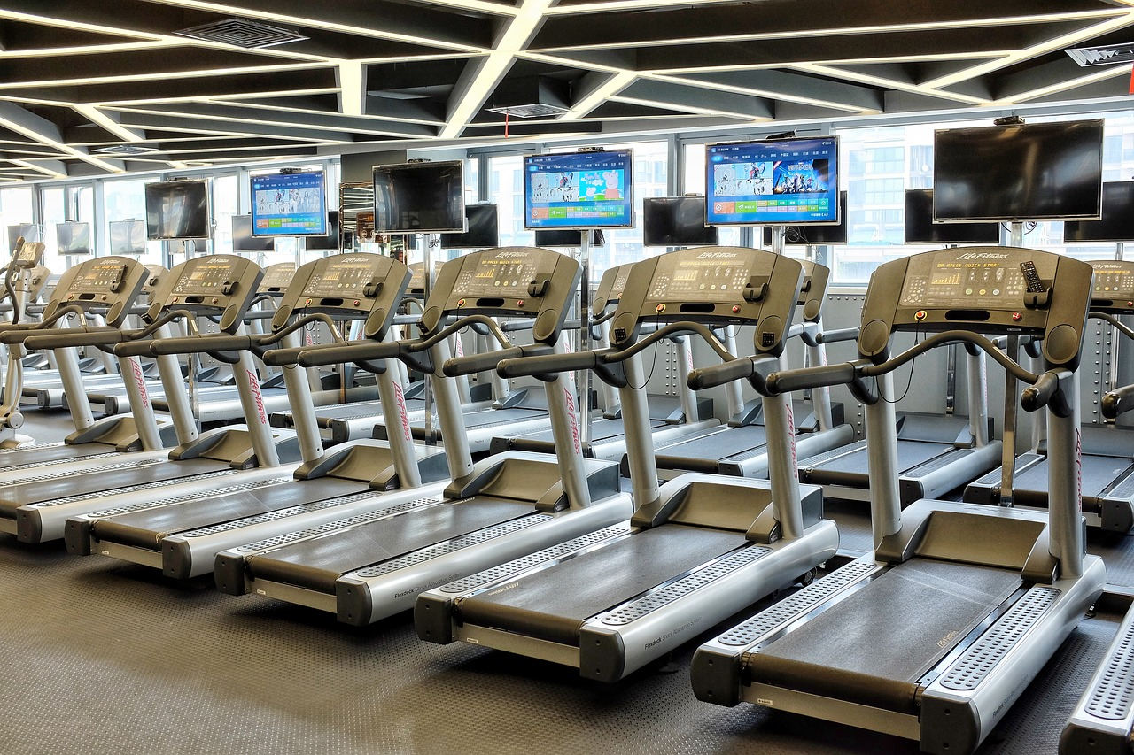 a line up of treadmill machines
