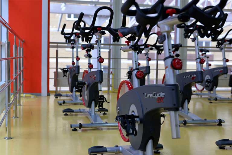 bikes in an indoor cycling studio