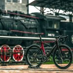 Road bike near train