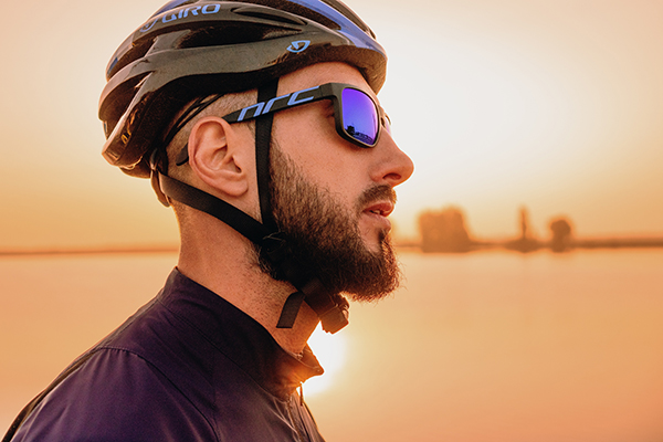 man cyclist wearing sunglasses